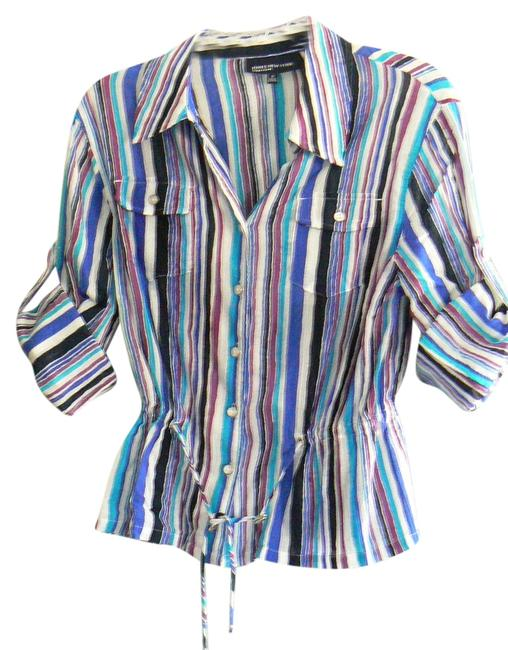 Jones New York Cotton Machine Wash Ties At Waist Chest Pockets Button Down Shirt Purple, Aqua Black Striped