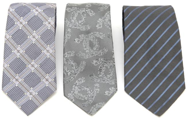 Item - Blue Grey Gold Necktie Men's (3) Logo Monogram Striped Tie/Bowtie