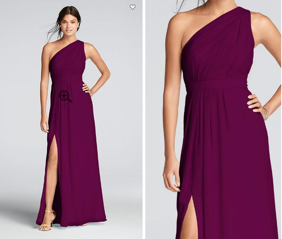 David S Bridal Sangria Chiffon Long One Shoulder Crinkle F18055 Formal Bridesmaid Mob Dress Size