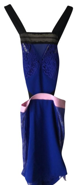 Item - Blue Black Pink Mid-length Night Out Dress Size 2 (XS)