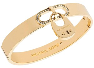Michael Kors NWT CITYSCAPE HARDWARE CRYSTAL GOLD PADLOCK BANGLE MKJ4610710