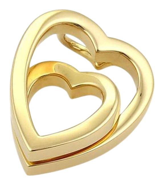 Item - Yellow Gold W 18k Interlaced Double Hearts Pendant W/Certificate. Charm