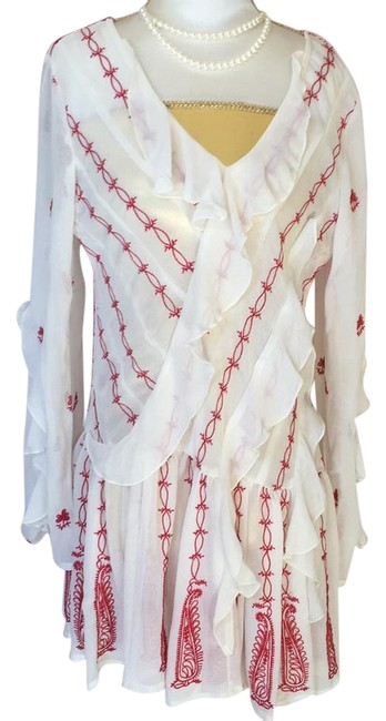 Item - Blouse Ivory and Red Top