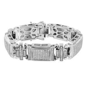 Master Of Bling White Gold Mens Bracelet 14K Finish Lab Diamonds Solid Stainless Steel