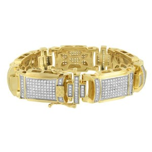 Master Of Bling 14k Gold Tone Bracelet Lab Diamonds Mens Brand New Stainless Steel