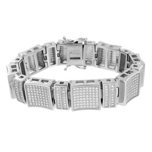 Master Of Bling Mens White Gold Bracelet 14K Finish Lab Diamonds Real Stainless Steel