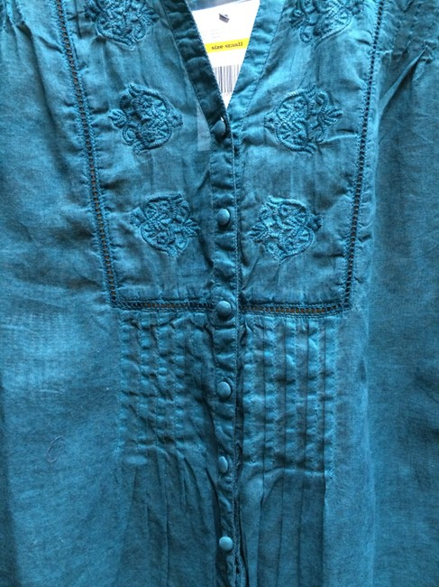 Nine West Embroidered Longsleeve Cotton Top GREEN Image 1