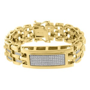 Master Of Bling Stainless Steel ID Design Bracelet Lab Diamonds 14K Yellow Gold Finish