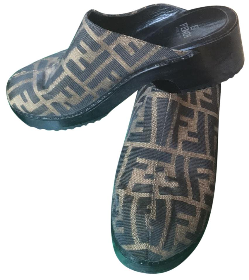 WOMENS product Fendi Brown/Black Canvas Mules/Slides product WOMENS quality 7be504