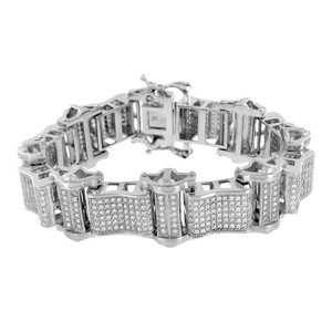 Master Of Bling Stainless Steel Bracelets For Men On Sale 14K White Gold Finish