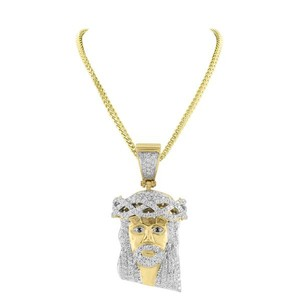 Master Of Bling Mens Gold Finish Jesus Pendant Stainless Steel With Chain