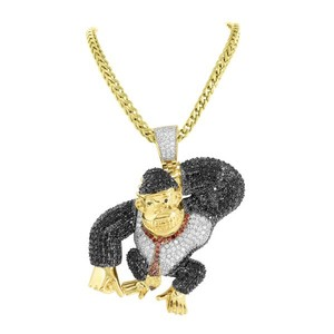 Master Of Bling Video Game Character Ape Pendant Gold Stainless Steel Multi Color