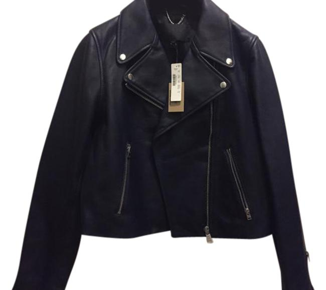 Item - Navy Collection Leather Motorcycle Jacket Size 14 (L)