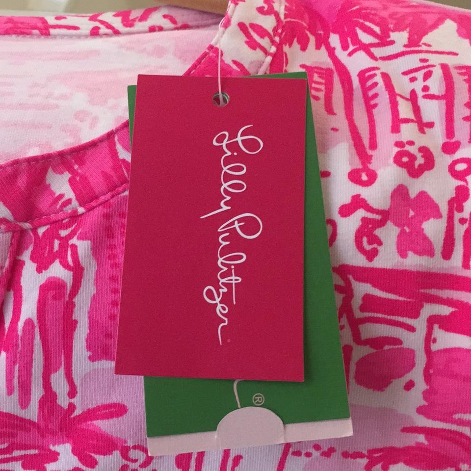 Lilly Pulitzer White and Pink 17247 Tunic Size 4 (S) - Tradesy