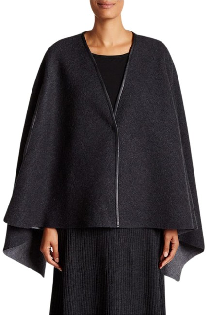 Item - Charcoal Ash L M Leather Trim - Felted Merino Snap Front Poncho/Cape Size 12 (L)