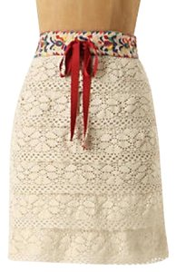 Anna Sui Anthropologie Embroidered Crochet Mini Skirt Off-White + Multi-Color