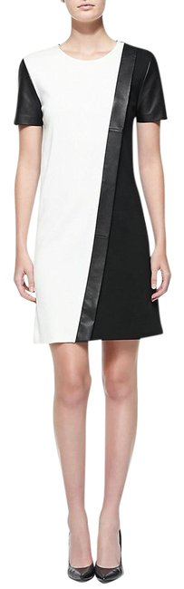 Item - Black & White W Two Tone Colorblock Milano W/ Leather Us Short Casual Dress Size 8 (M)