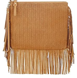 Barneys New York Pouch Clutch Textured Leather Wristlet in Camel