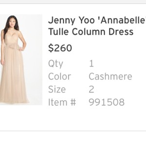 Jenny Yoo Cashmere Annabelle Formal Bridesmaid/Mob Dress Size 2 (XS)
