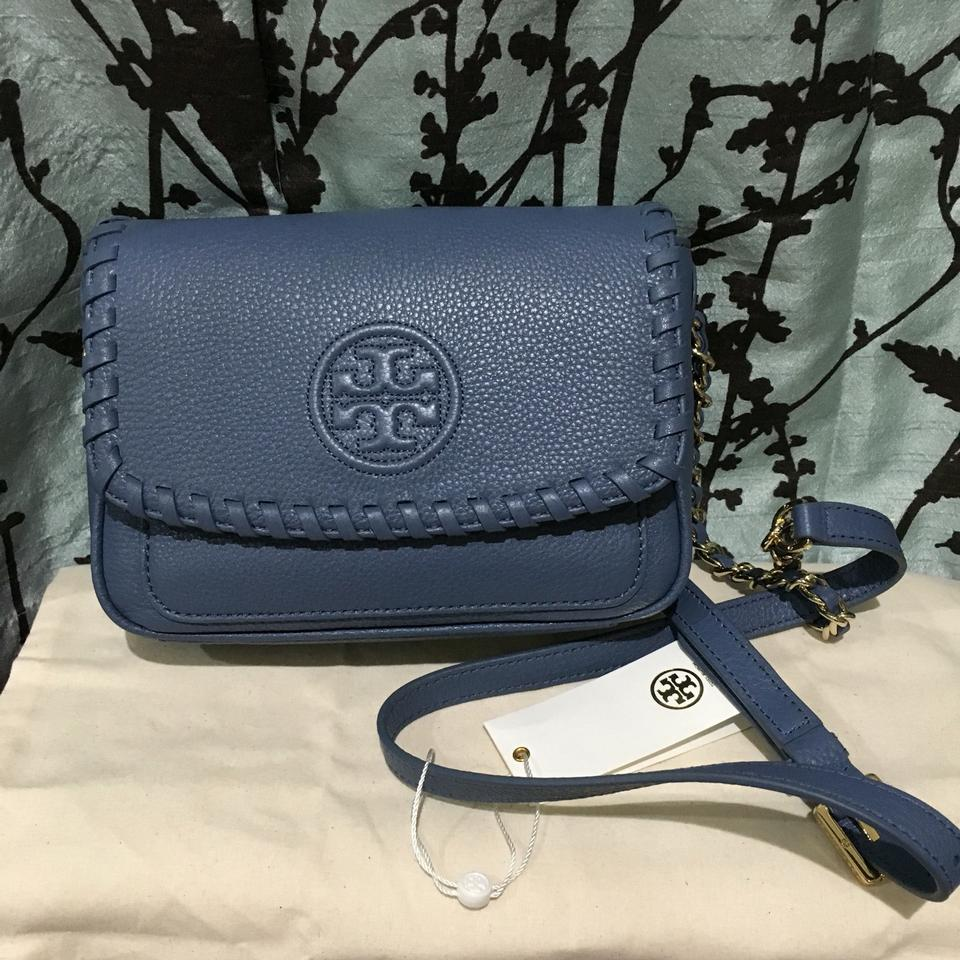 2b6eba8101 Tory Burch Crossbody Mini Front Flap Quilted Marion Blue Messenger Bag  Image 9. 12345678910