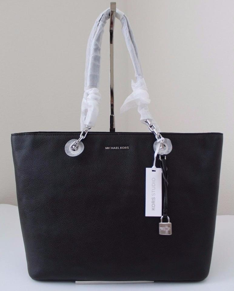 3971dbed6744 Michael Kors Mercer Chain-link Black/Silver Leather Tote - Tradesy