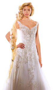 Alfred Angelo Ivory/Silver Shimmer Tulle Satin Disney Princess Rapunzel 255 Formal Wedding Dress Size 10 (M)