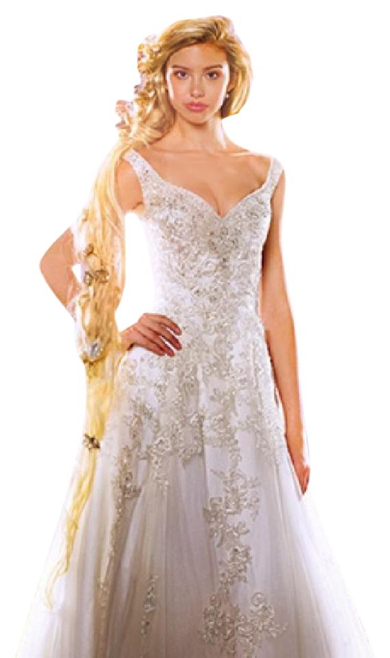 Alfred Angelo Ivory Silver Shimmer Tulle Satin Disney Princess Rapunzel 255 Formal Wedding Dress Size