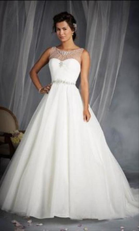 Alfred Angelo White Silver Shimmer Tulle Disney Princess Cinderella 244 Formal Wedding Dress Size 12 L 63 Off Retail
