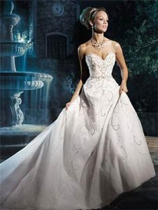 Alfred Angelo White/Silver Shimmer Tulle Disney Princess Cinderella 262 Traditional Wedding Dress Size 14 (L)