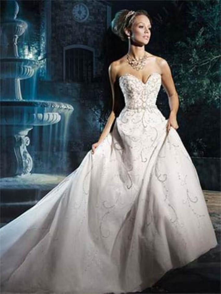 3a98e554 Alfred Angelo White/Silver Shimmer Tulle Disney Princess Cinderella 262  Traditional Wedding Dress