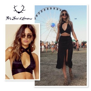 For Love & Lemons Black Halter Top