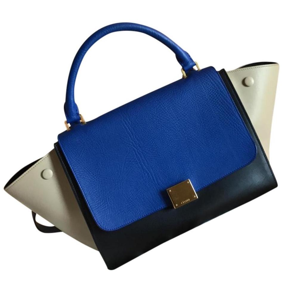 fcd2138bab2c Céline Trapeze Tri-color Blue Black Tan Leather Satchel - Tradesy