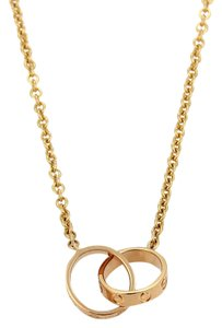 Cartier Rose Gold Love Double Mini Ring Pendent Necklace