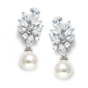 Stunning Crystal Cluster With Pearl Drop Couture Bridal Earrings