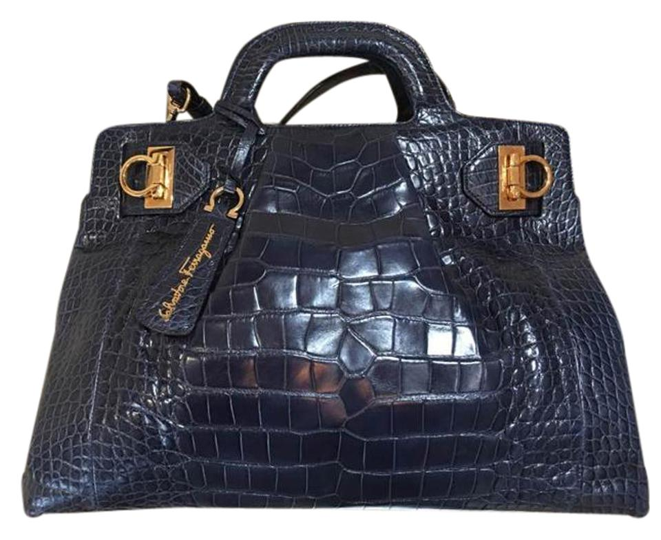 624b26ba1ce8 Salvatore Ferragamo New Soft Navy Blue Crocodile Skin Leather ...