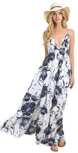 Navy White Maxi Dress by Homage Maxi Plunge Sexy