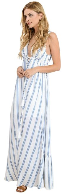 Item - White and Blue Plunge In Stripe New Sexy Long Casual Maxi Dress Size 12 (L)