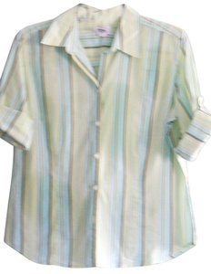 Ann Taylor LOFT 100% Cotton Tab Sleeves Top Pale Green Striped