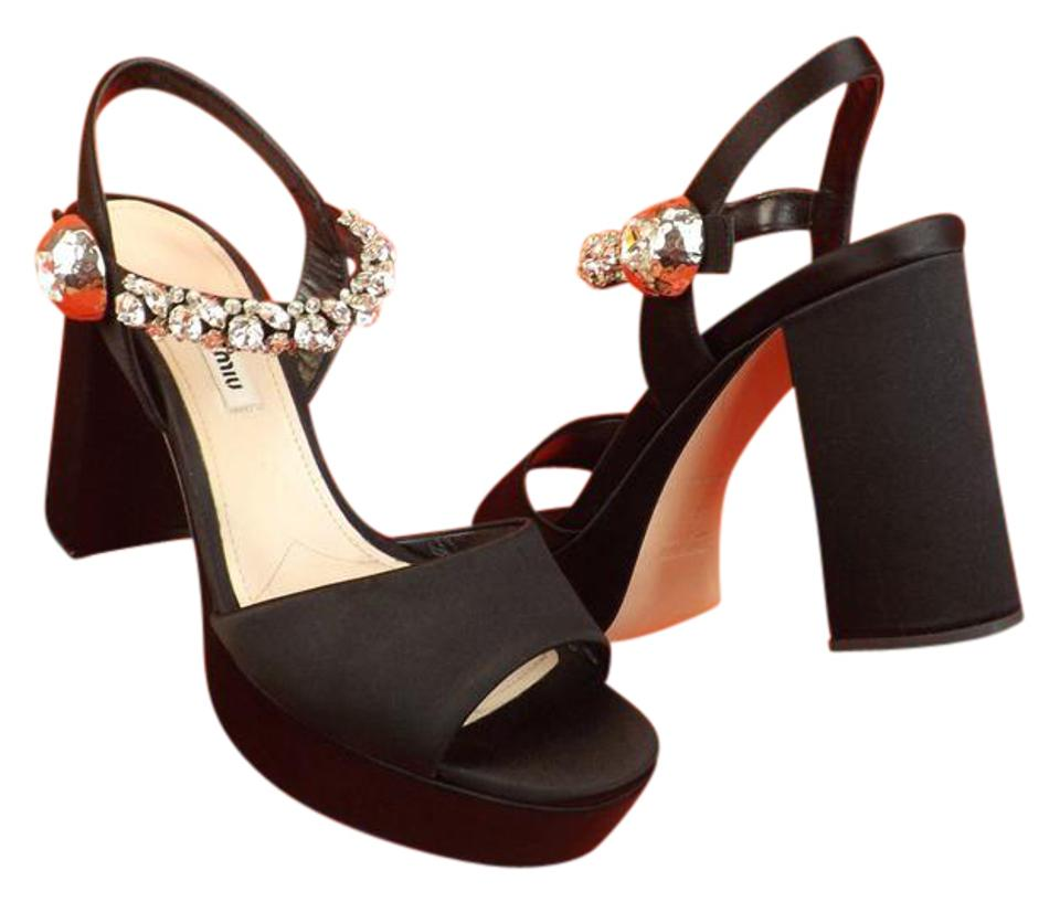 be13ed5aa8ef4 Miu Miu Black Prada Satin Jeweled Crystals Platform Sandals Pumps ...