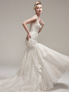Sottero and Midgley Ivory Over Champagne Tulle & Lace Zanetta Formal Wedding Dress Size 8 (M)