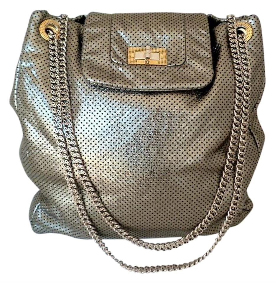 ce7e79829d24 Chanel Large Drill Flap Tote Crossbody Light Weigh Green Metallic ...