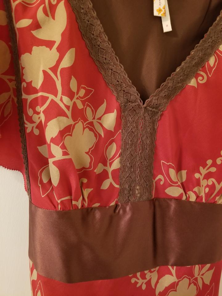 28db1f2eac70f Anthropologie short dress Red and Brown Silk Kimono Detail on Tradesy Image  5. 123456