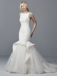 Sottero and Midgley Ivory/Pewter Organza Lace & Tulle Raquelle Formal Wedding Dress Size 8 (M)