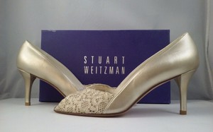 Stuart Weitzman Gold Chantilly Lace Women's Peep-toe Heels N Pumps Size US 8.5 Narrow (Aa, N)