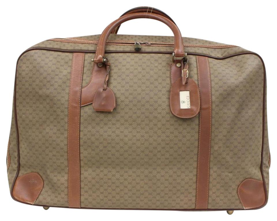 088c2afc774 Gucci Vintage Gg Made In Italy Luggage Suitcase Carry On Brown Monogram  Weekend Travel Bag