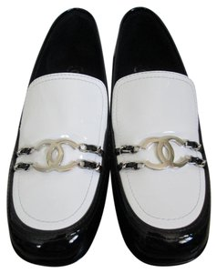 Chanel Patent Leather Logo Loafers Black Flats