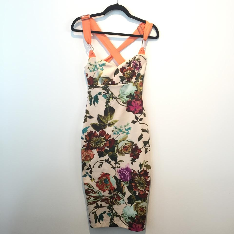 1a40e6670 Ted Baker Floral Amabel Bodycon Mid-length Night Out Dress Size 4 (S) -  Tradesy