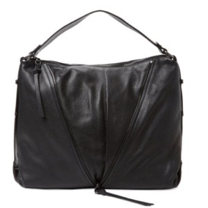 Kooba Leather Gunmetal Hardware Zipper Trim Pebbled Hobo Bag