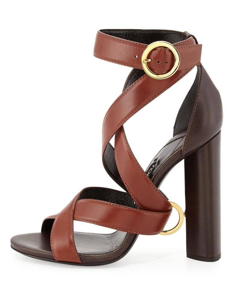 f0029f31b1 Tom Ford Brown Ankle Wrap Ring Block Heel Sandals Size EU 37 (Approx ...