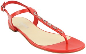 Chanel Leather Logo Red Sandals